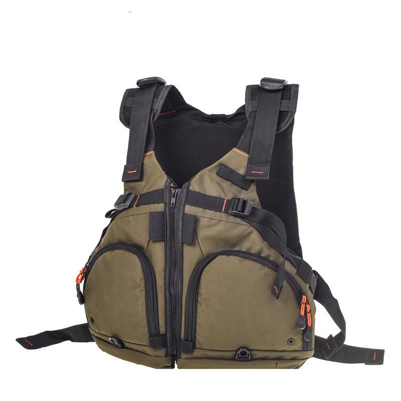 Adult Men Lifejacket Portable Waterproof Swimming Boating Sailing Saving Life Vest Olive green (semi-circle)_one size adjustable