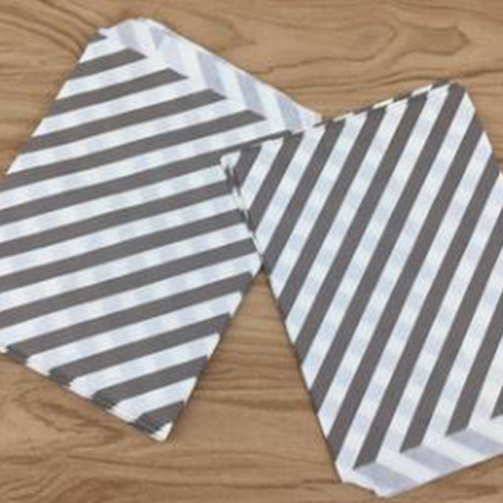 Degradable Stripe Printing Paper Bag for Festival Wedding Party Decoration 50G food paper length 18.5cm width 13cm 25 per package_PB44 black diagonal stripes