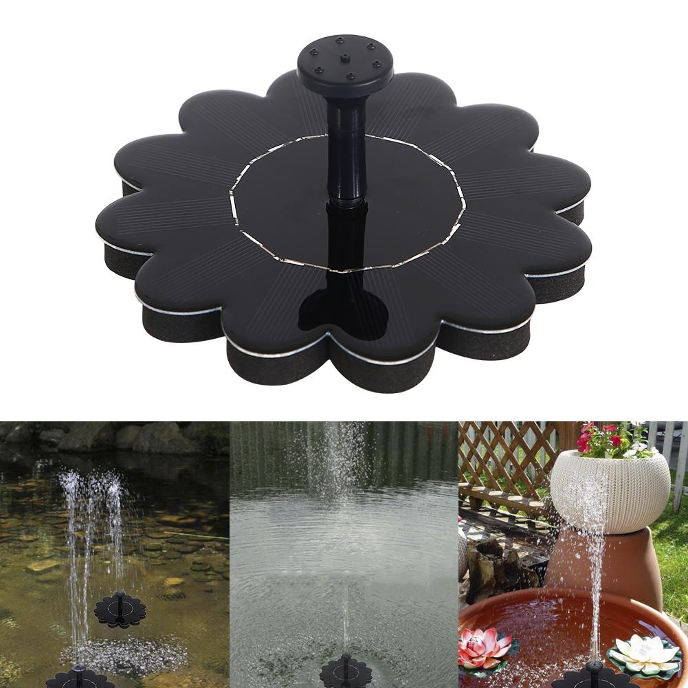 1.2W 5V IP68 160L/H Round Model Solar Outdoor Garden Portable Water Pump Fountain Kit black