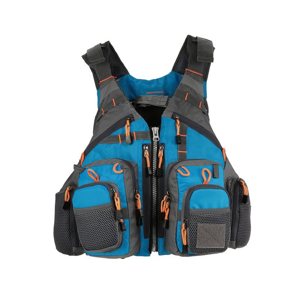 Breathable Polyester Mesh Design Fishing Vest Fishing Safety Life Jacket for Swimming Sailing blue