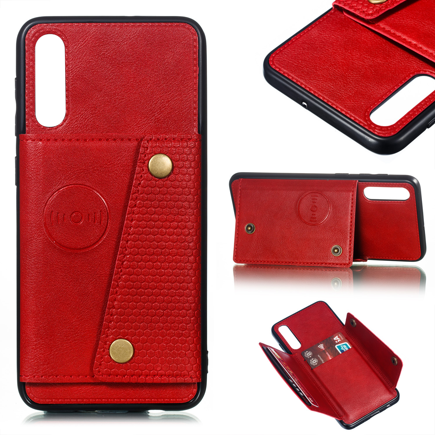 For Samsung A50 Double Buckle Non-slip Shockproof Cell Phone Case with Card Slot Bracket red
