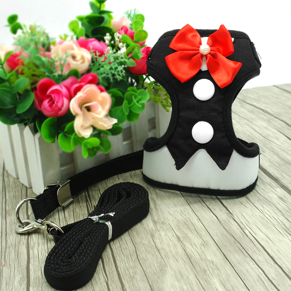 Dog Traction Rope Elegant Bow Dog Harness with Cloth Mesh Puppy Vest