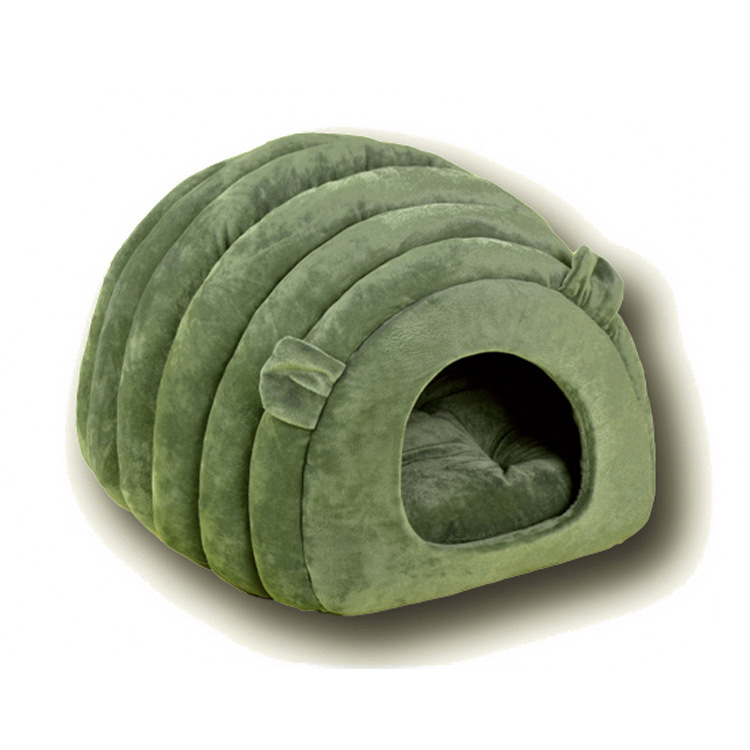 Sheep Shaped Pet Cat Dog Litter House Cat Bed Semi-closed Cloth Solid Color Sleeping Bag Dark green_38*42*33cm
