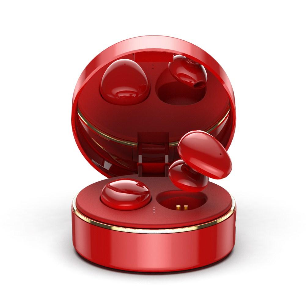 TWS Bluetooth 5.0 Wireless Headsets Waterproof Sports Stereo Earphones red