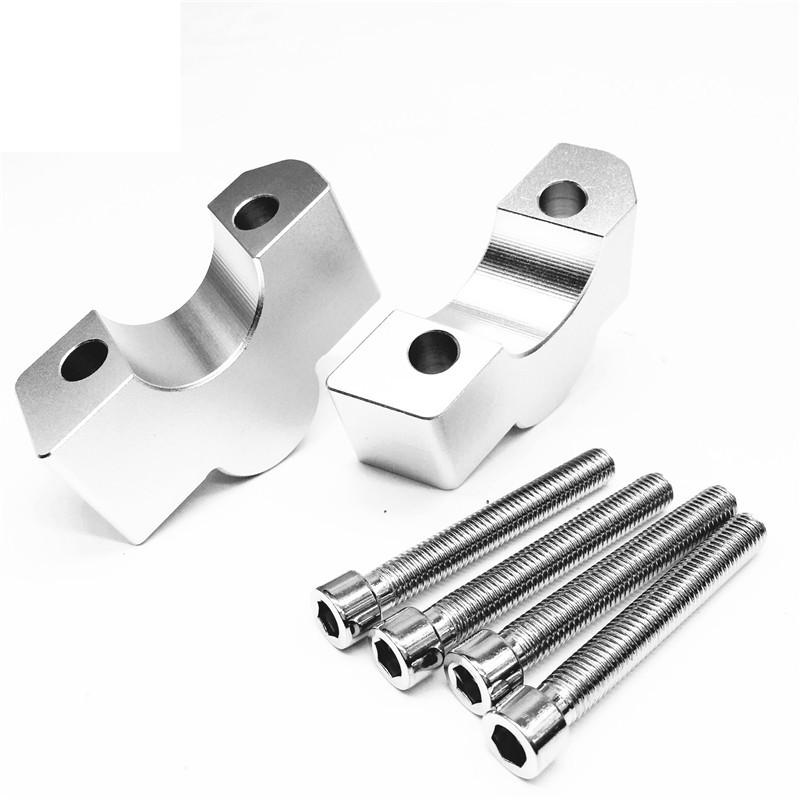 CNC Machining Handlebar Risers Bar Clamp Extend Adapter with Bolts for KAWASAKI VULCAN S VN650 15-19 silver