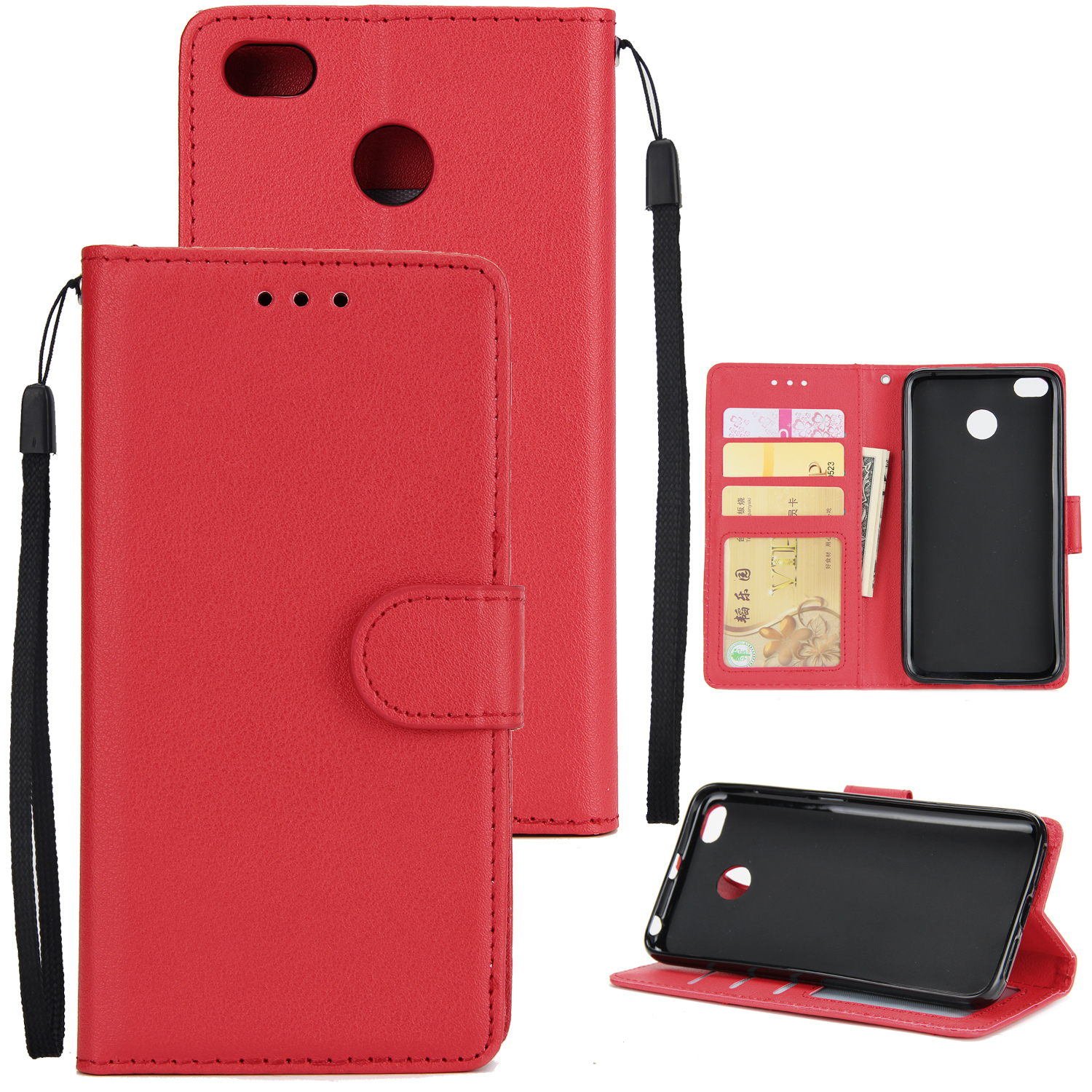 Ultra Slim Shockproof Full Protective Case with Card Wallet Slot for Xiaomi Redmi 4X red
