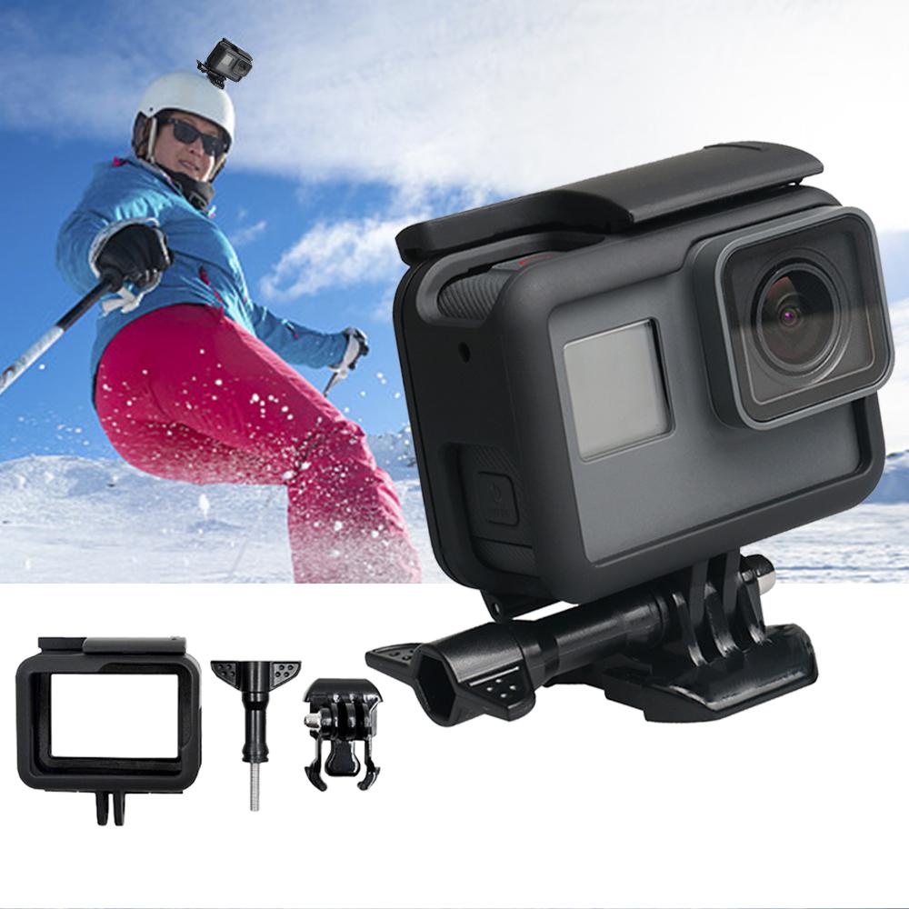 Plastic Frame Case for Gopro Hero 5/6/7 Black Camera Vertical Protection Sports Camera Portable Standard Cover black
