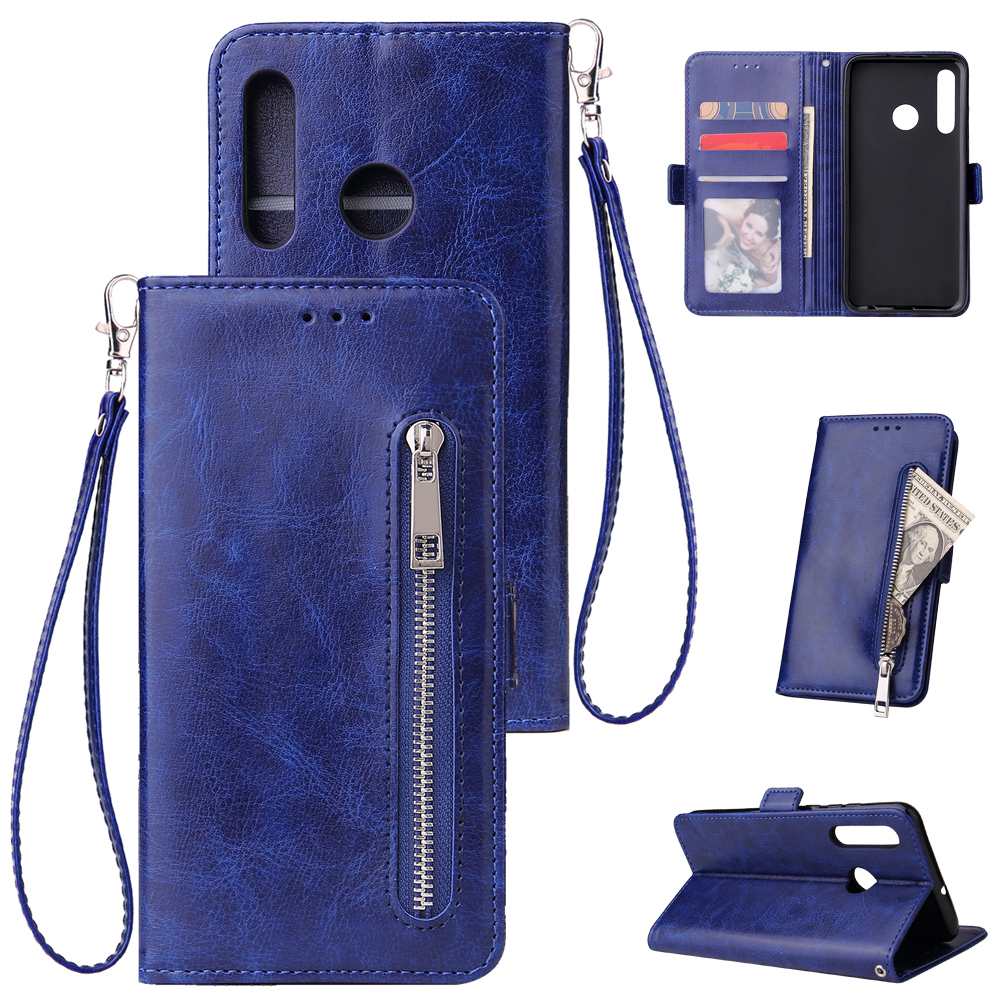 For Huawei Enjoy 9-Y7 2019-Y7 PRIME 2019 with fingerprint hole - Y7 PRO 2019 Solid Color PU Leather Zipper Wallet Double Buckle Protective Case with Stand & Lanyard blue