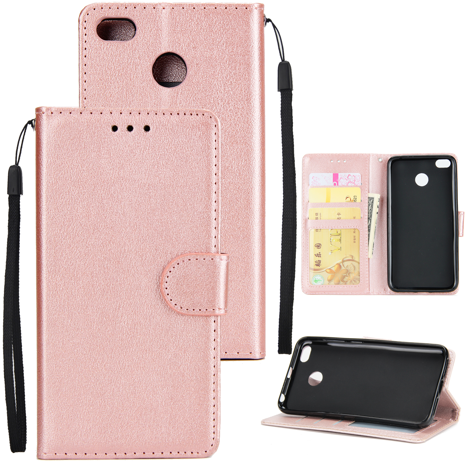 Ultra Slim Shockproof Full Protective Case with Card Wallet Slot for Xiaomi Redmi 4X Rose gold
