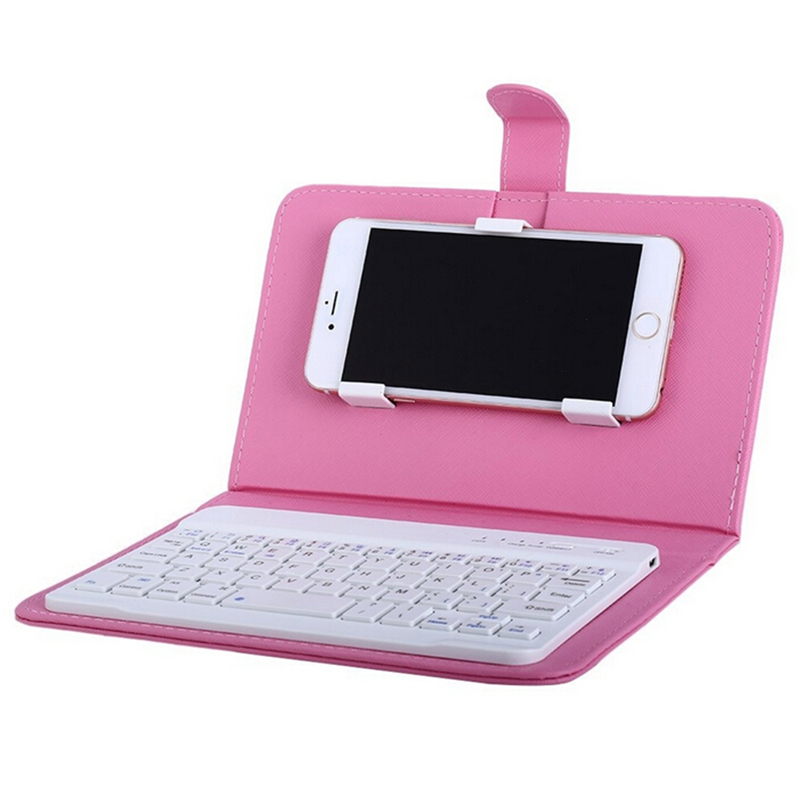 Portable PU Leather Wireless Keyboard Case for iPhone with Bluetooth Keyboard for 4.2-6.8 Inch Phones  pink_Bluetooth keyboard + leather case