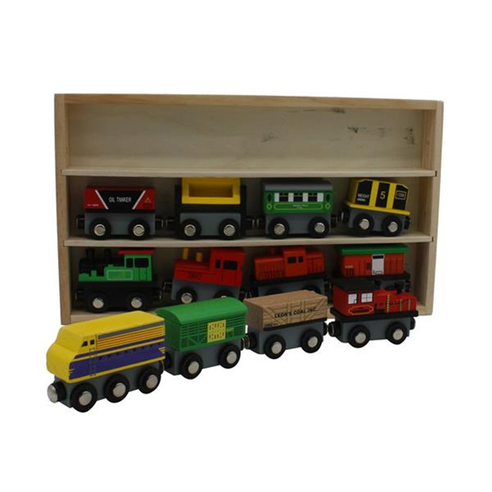 [US Direct] 12pieces Wooden Magnetic Train Cars Display Frame Toys Set Kids Gift As shown