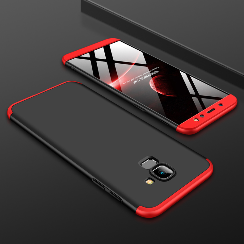 For Samsung A6 2018 360 Degree Protective Case Ultra Thin Hard Back Cover Red black red