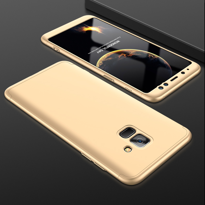 For Samsung A8 2018 360 Degree Protective Case Ultra Thin Hard Back Cover Gold