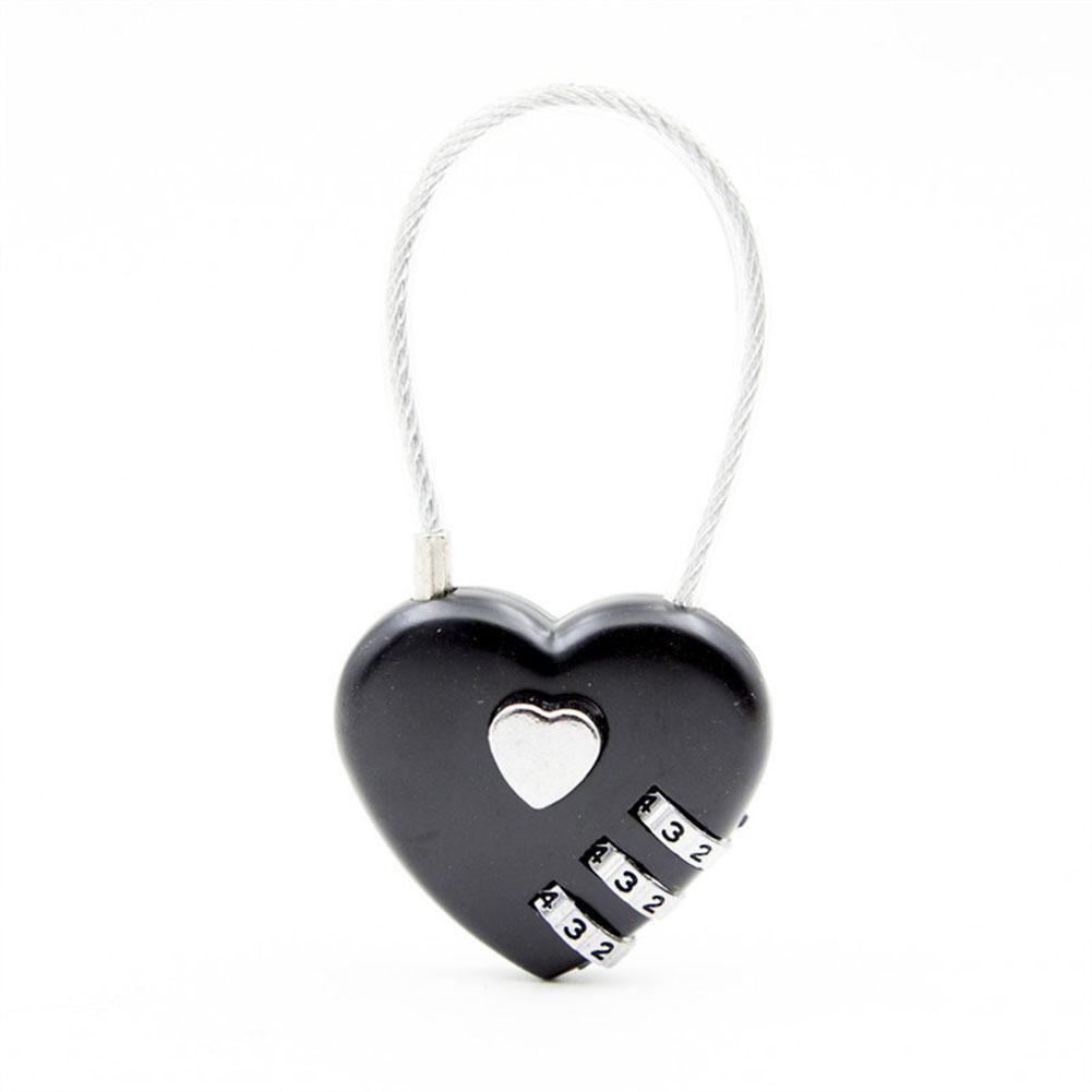 Bag Luggage Backpack Zinc Alloy Love Heart-shaped Simple Password Lock Combination Lock Padlock black