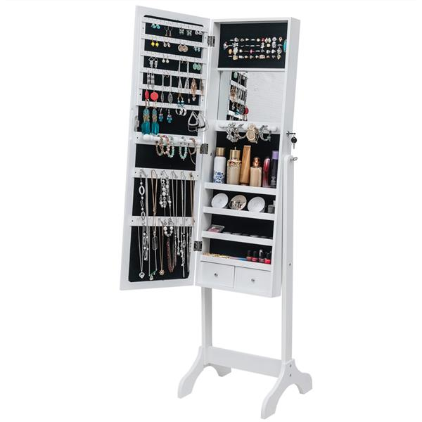 [US Direct] Full Mirror Wooden 4 Floors Storage Shelf with Interior Mirror 2 Drawers Adjustable Mirror Cabinet White