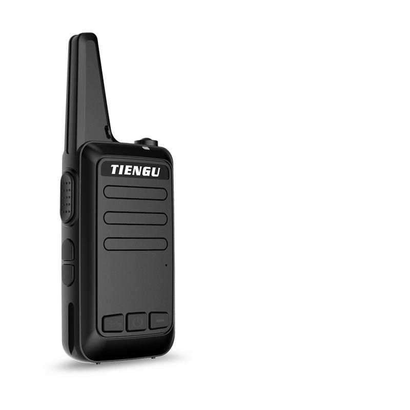 TIENGU Wireless Handheld Mini Ultra-thin Walkie Talkie FRS UHF Portable Radio Communicator Black EU plug