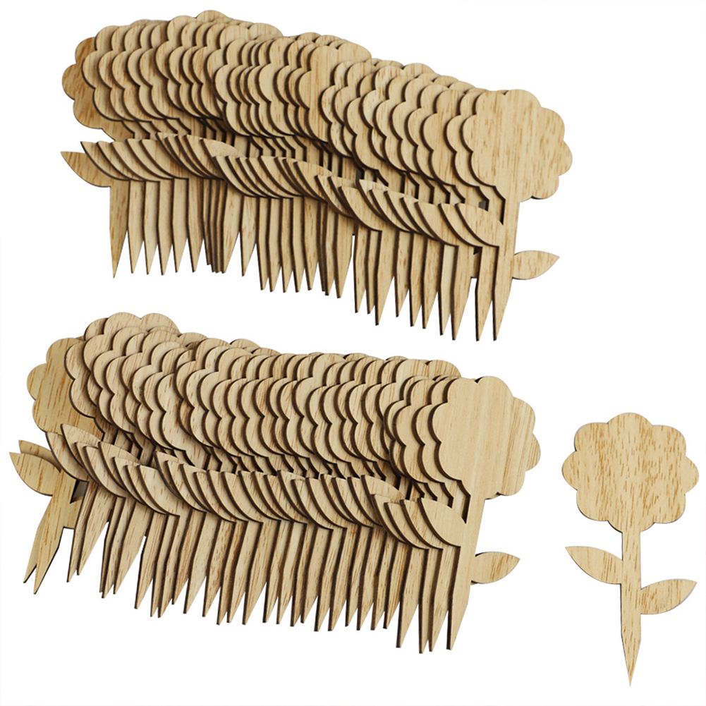 Plant Shaped Wooden  Labels Decorative Garden Tags For Seed Potted Herbs Flowers Vegetables JM00485 (60 flowers)