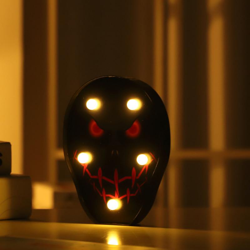 Halloween Series LED Skull Shape Night Light Scene Layout Decoration Props Warm White_Red