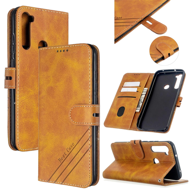 For Redmi Note 8T/Redmi 8/Redmi 8A Case Soft Leather Cover with Denim Texture Precise Cutouts Wallet Design Buckle Closure Smartphone Shell  yellow