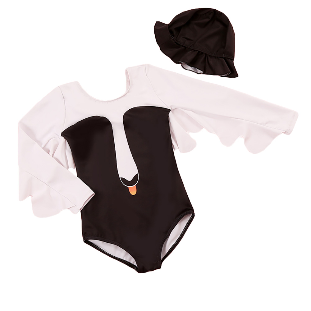 Girl Stylish Long-sleeve Swan Swimsuit Swim Jumpsuit Holiday Beach Outfits Gift
