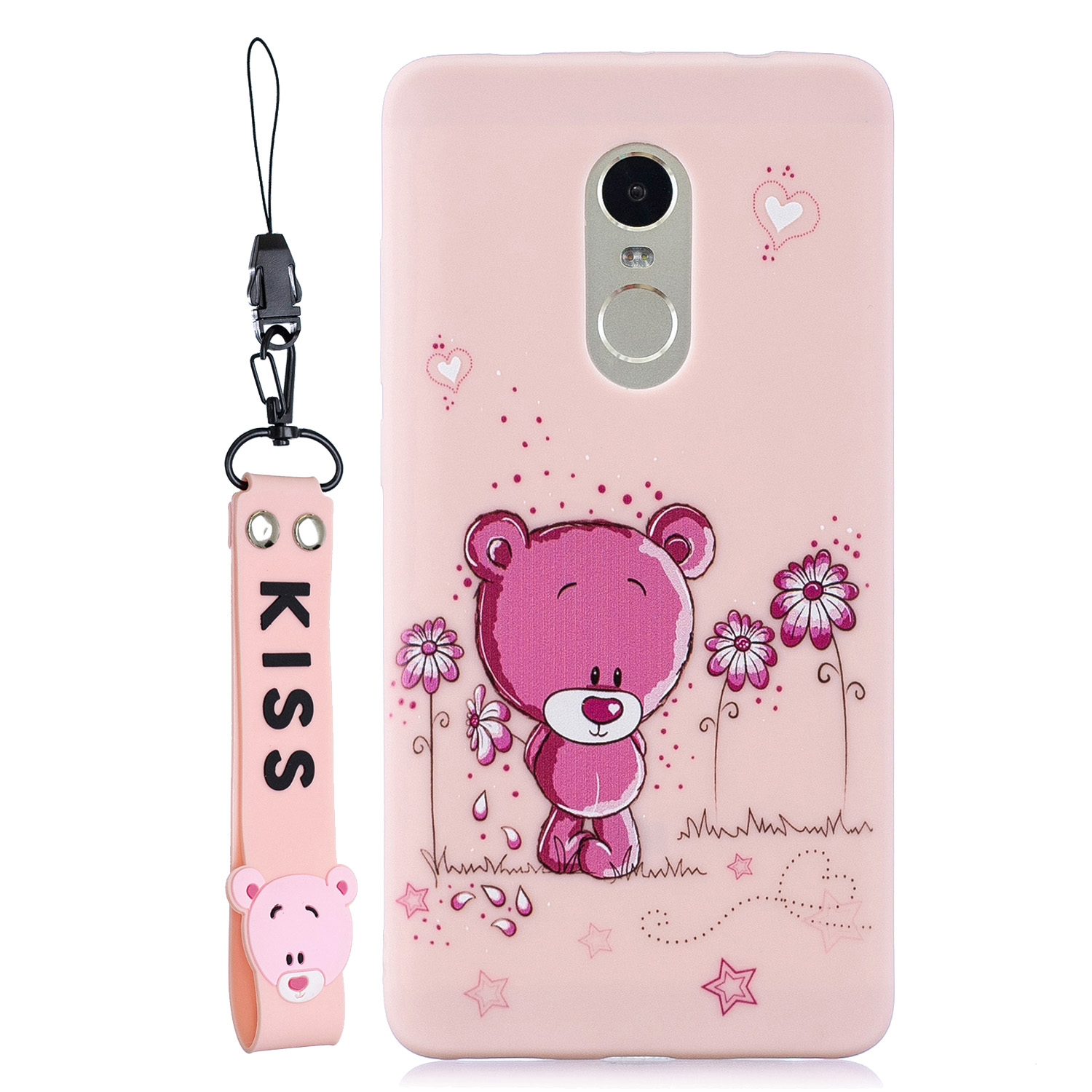 For Redmi note 4X/NOTE 4 Cartoon Lovely Coloured Painted Soft TPU Back Cover Non-slip Shockproof Full Protective Case with Lanyard Light pink