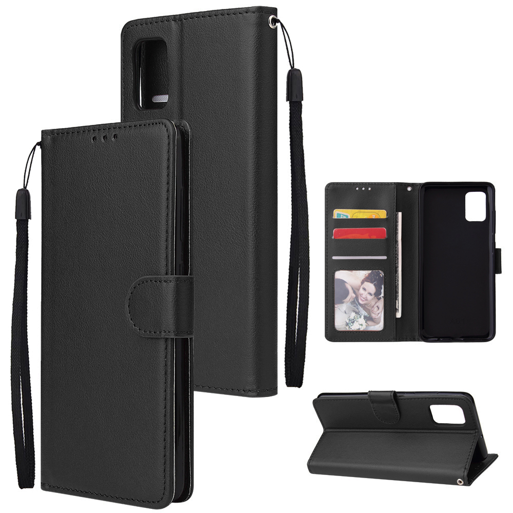 For Samsung A51 Phone Case PU Leather Shell All-round Protection Precise Cutout Wallet Design Cellphone Cover  Black