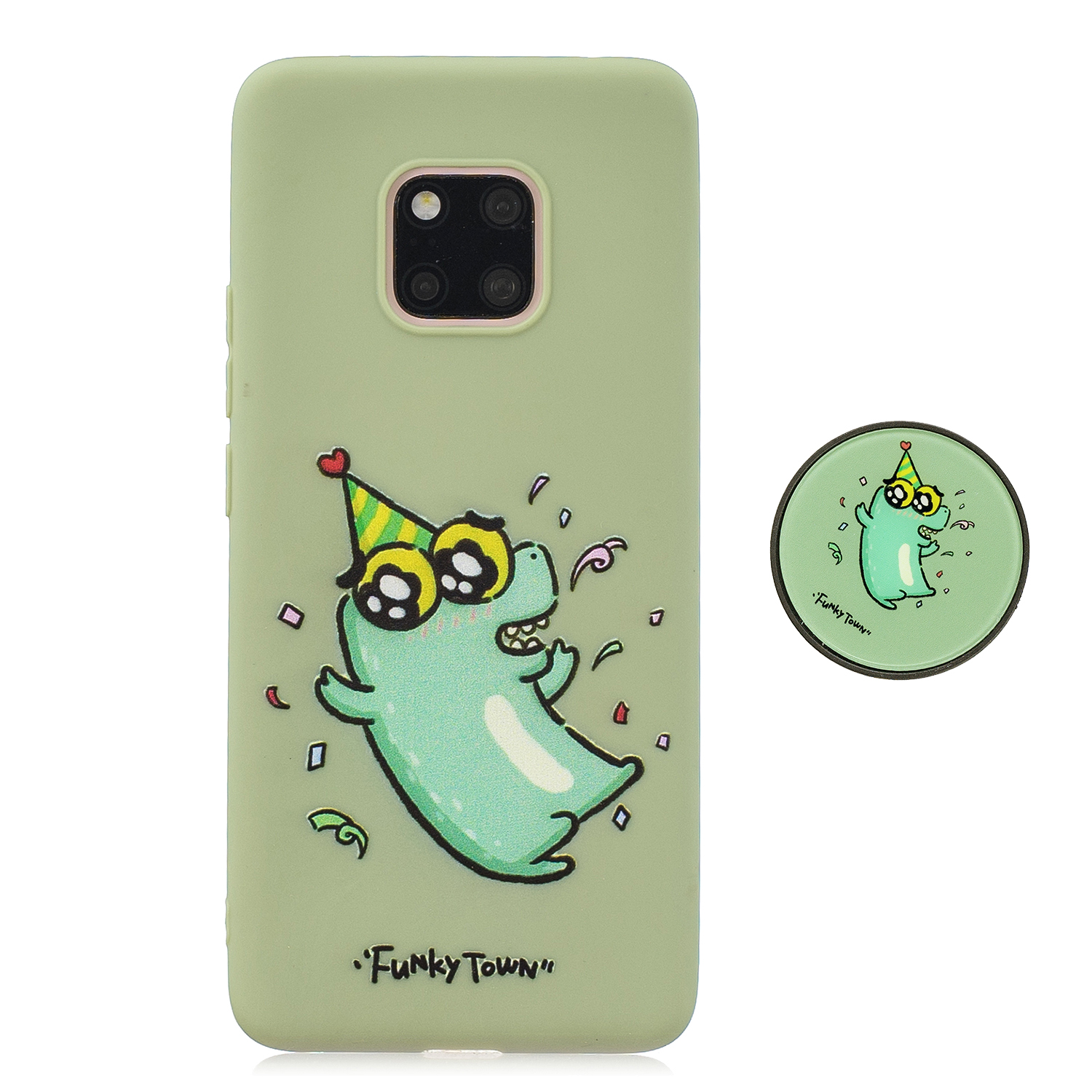 For HUAWEI MATE 20 pro Pure Color Phone Cover Cute Cartoon Phone Case Lightweight Soft TPU Phone Case with Matching Pattern Adjustable Bracket 2
