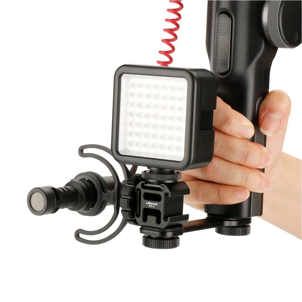 Ulanzi 3-heads Hot Shoe Mount Adapter Mobile Phone Stabilizer for Digital DSLR Camera black