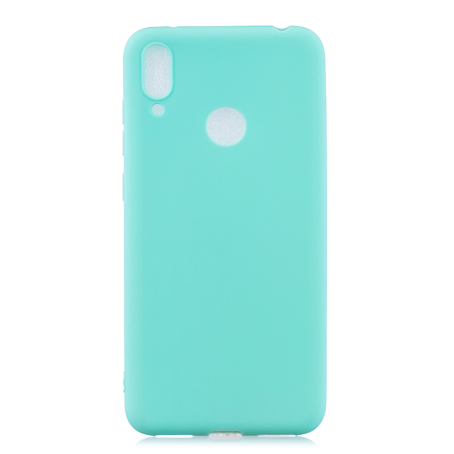 For HUAWEI Y7 2019 Lovely Candy Color Matte TPU Anti-scratch Non-slip Protective Cover Back Case Light blue