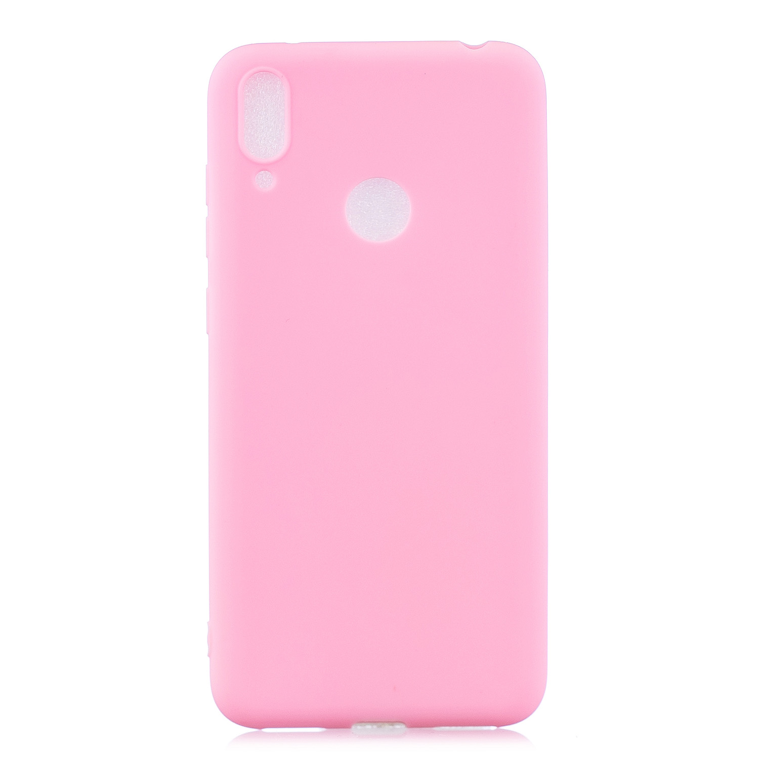 For HUAWEI Y7 2019 Lovely Candy Color Matte TPU Anti-scratch Non-slip Protective Cover Back Case dark pink