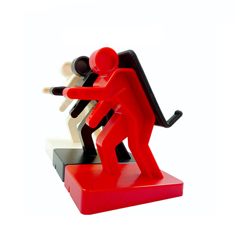 Mobile Phone Holder Desk Cellphone Stand Human Shape Design MP3 MP4 Music Player Silicone Mount  red