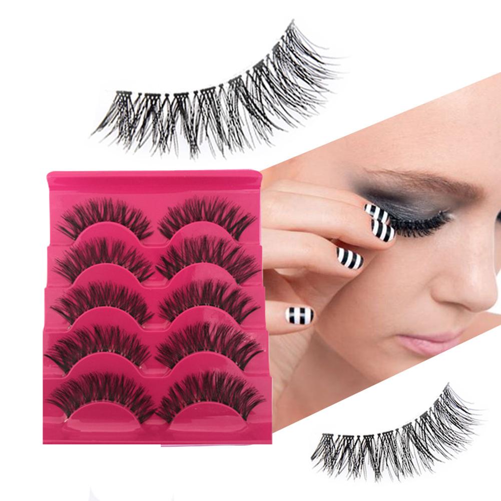 5 Pairs False Eyelashes 3D Mink Hair Natural Long Thick Handmade Soft Fake Lashes Set  Makeup Cosmetics 5 pairs in a box