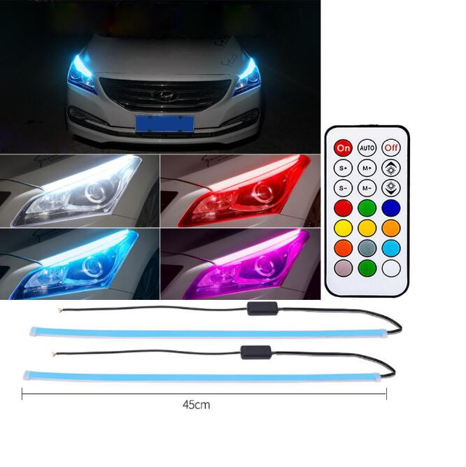 2pcs Daytime Running Light Switch With Wireless Remote Control Tube Guide Car Led Strip Turn Signal Light Bar Colorful_45CM