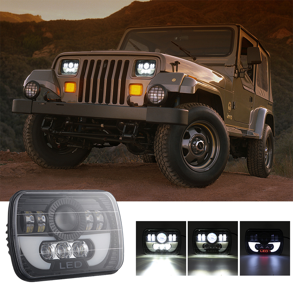 300W 7 inch 30000LM LED Headlight for Off-road Truck Vehicle 6000K white + Amber _1pc