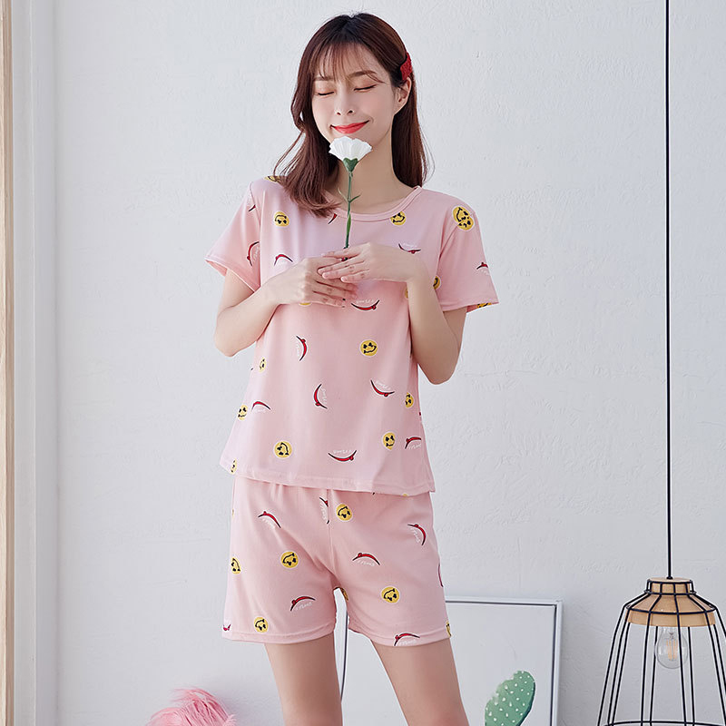 Woman Fashion Short Sleeves Cute Pattern Printing Homewear Suit #A Smiley pepper_L