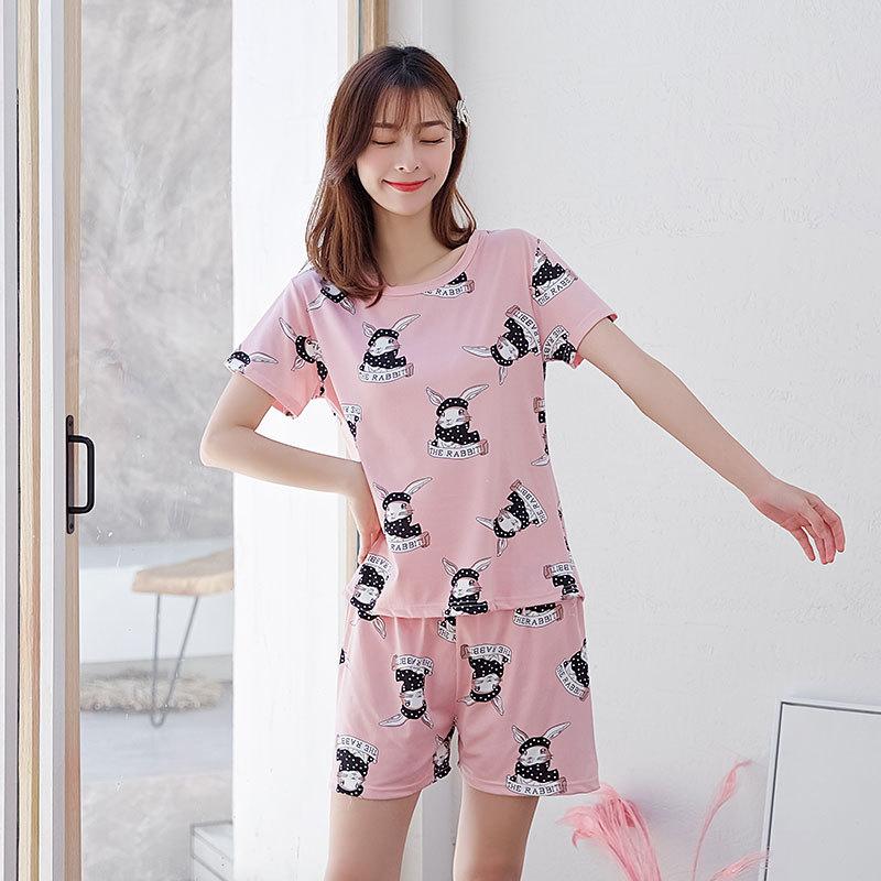 Woman Fashion Short Sleeves Cute Pattern Printing Homewear Suit #B Scarf Rabbit Pink_M
