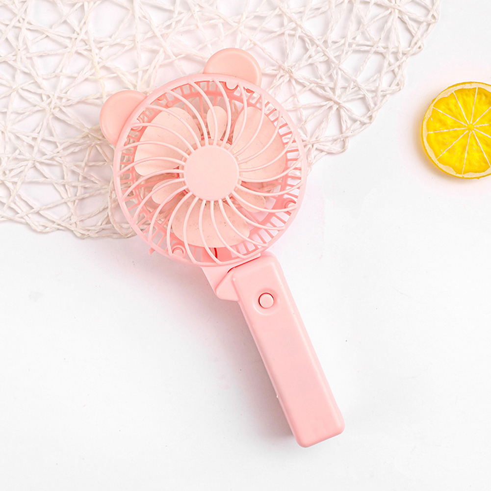 Usb Mini Folding Fans Electric Portable Cartoon Small Fans for Student Desktop Pink purple round ears_22.5*2.5cm