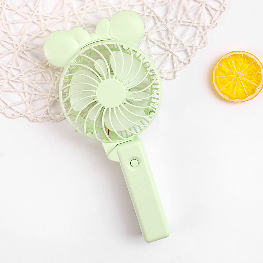 Usb Mini Folding Fans Electric Portable Cartoon Small Fans for Student Desktop Green bow ears_22.5*2.5cm