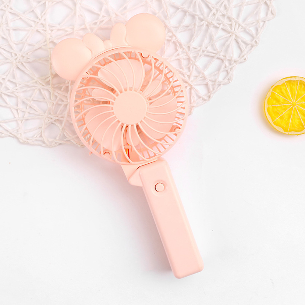 Usb Mini Folding Fans Electric Portable Cartoon Small Fans for Student Desktop Pink bow ears_22.5*2.5cm