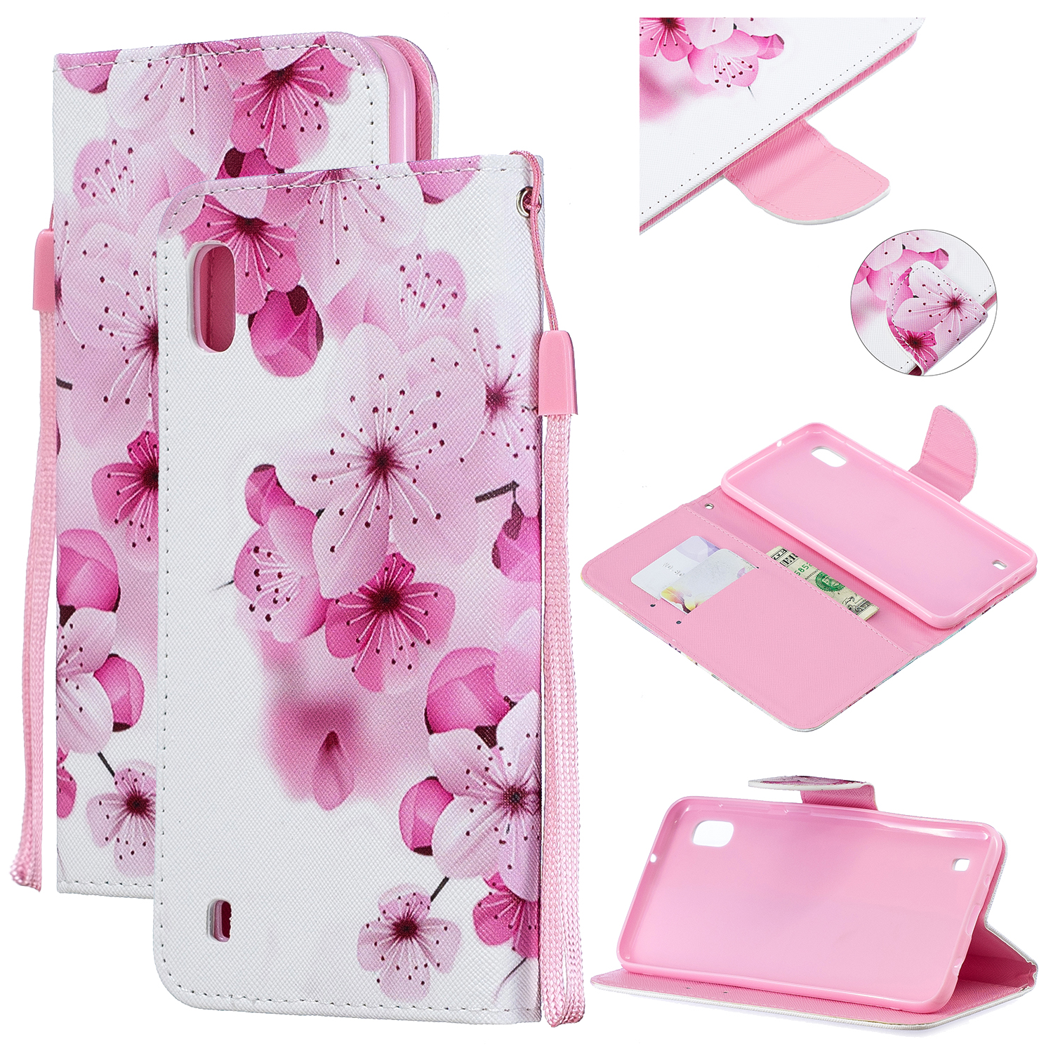 For Samsung A10/A20/A30 Smartphone Case PU Leather Wallet Design Cellphone Cover with Card Holder Stand Available peach blossom