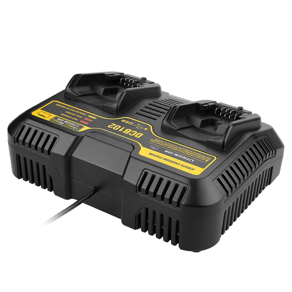10.8V-20V Dual Port Li-ion Charger for Dewalt DCB102 DCB112