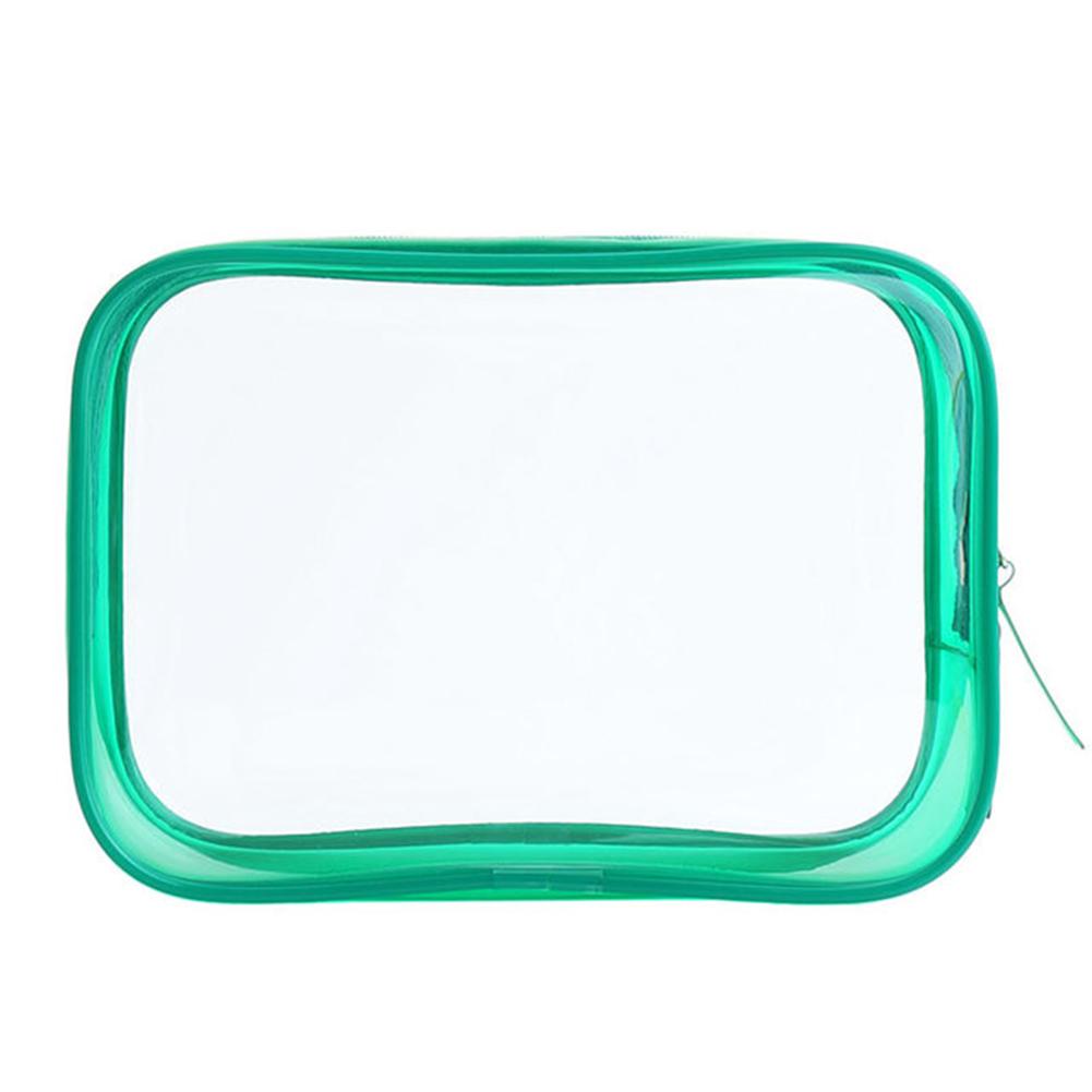 PVC Transparent Cosmetic Bag Zipper Clear Makeup Bags Beauty Case Make Up Organizer Storage Bath Toiletry Wash Bag green