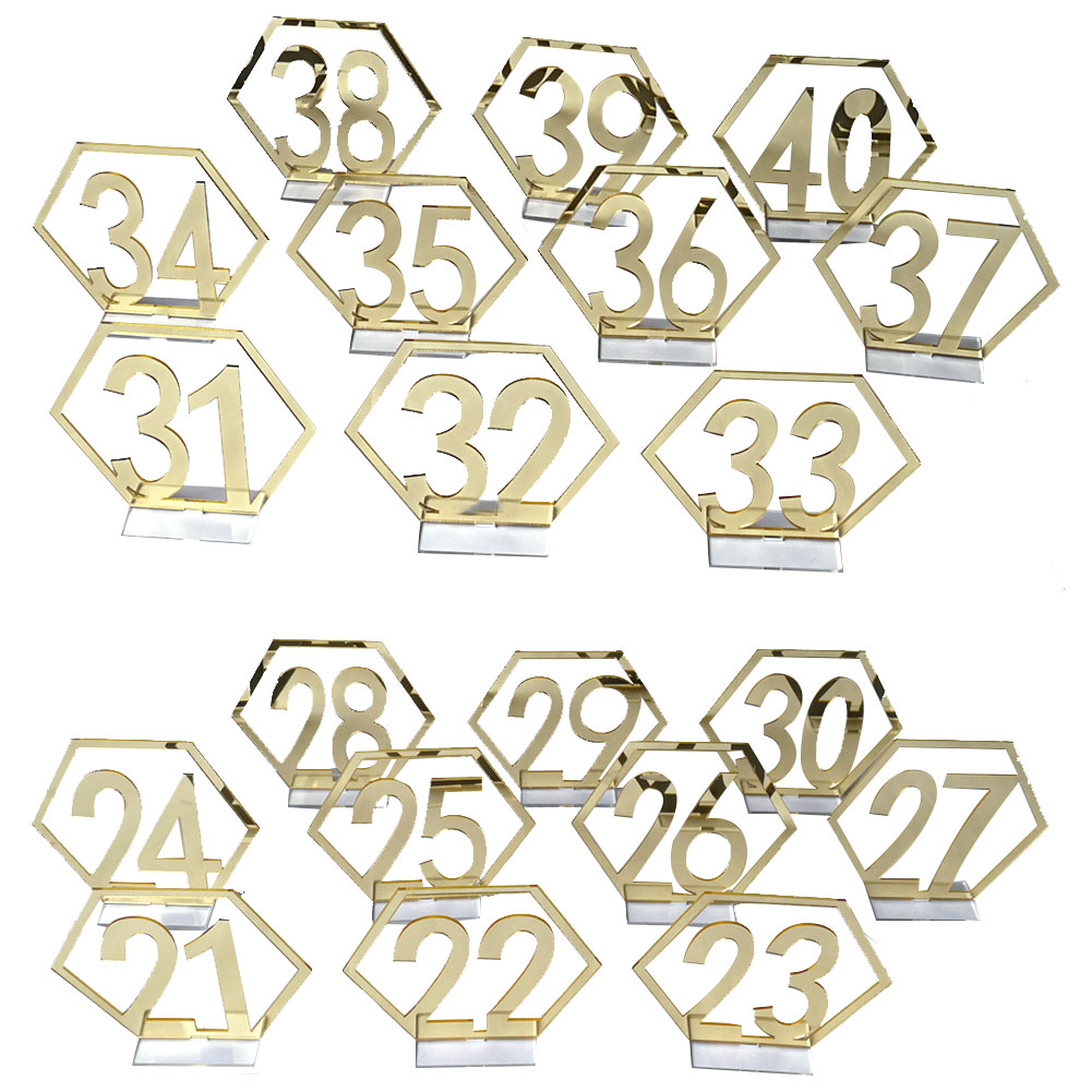 Number 21-40 Acrylic Mirror Surface Hollow-out Hexagon Table Cards Reception Seat Card for Party Wedding Decoration 20PCS/Set Golden