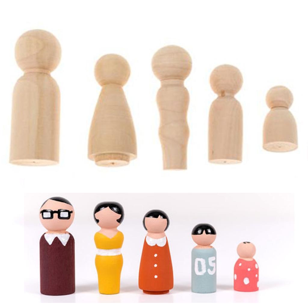 Family Peg Dolls Wooden Unpainted DIY Decor Wedding Cake Topper Home Ornament Kids Toys Crafts 5PCS/Set