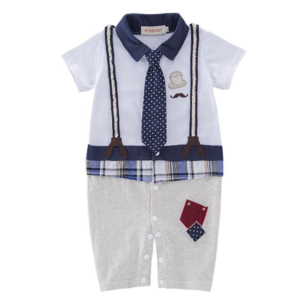 Kids Baby Boys Short Sleeve Strap Necktie Gentleman Jumpsuit Khaki pants_90(6-12 months)