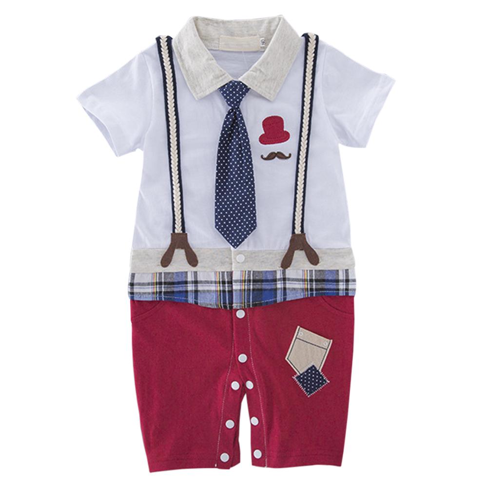 Kids Baby Boys Short Sleeve Strap Necktie Gentleman Jumpsuit Red pants_90(6-12 months)