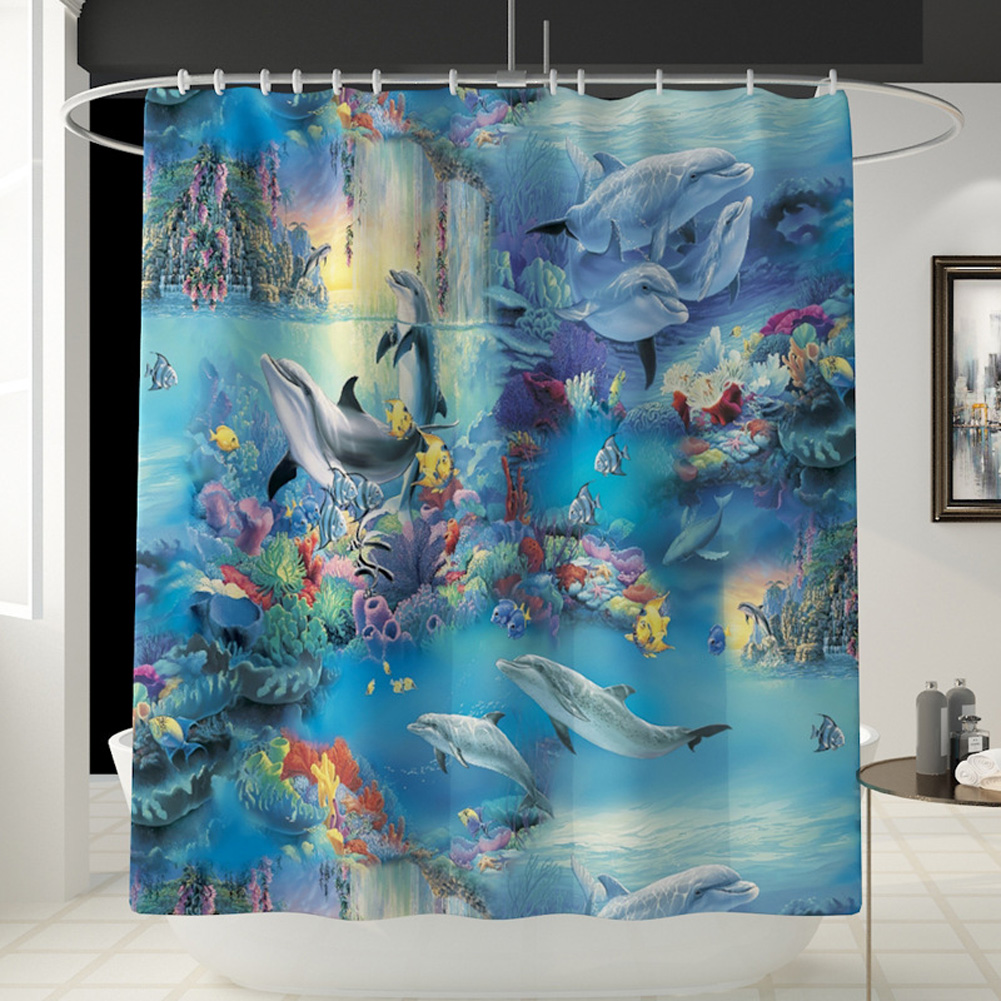 Dolphin Printing Shower Curtain/Toilet Lid Cover Bath Mat for Bathroom YL468_Shower curtain