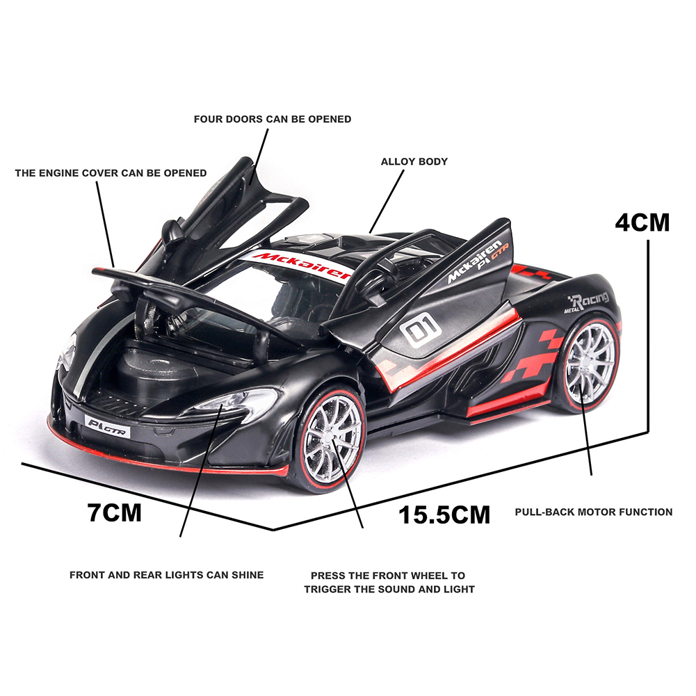 1:32 Alloy Simulate Racing Car Model Toy with Light Sound Function for McLaren P1 (Box Packing) black