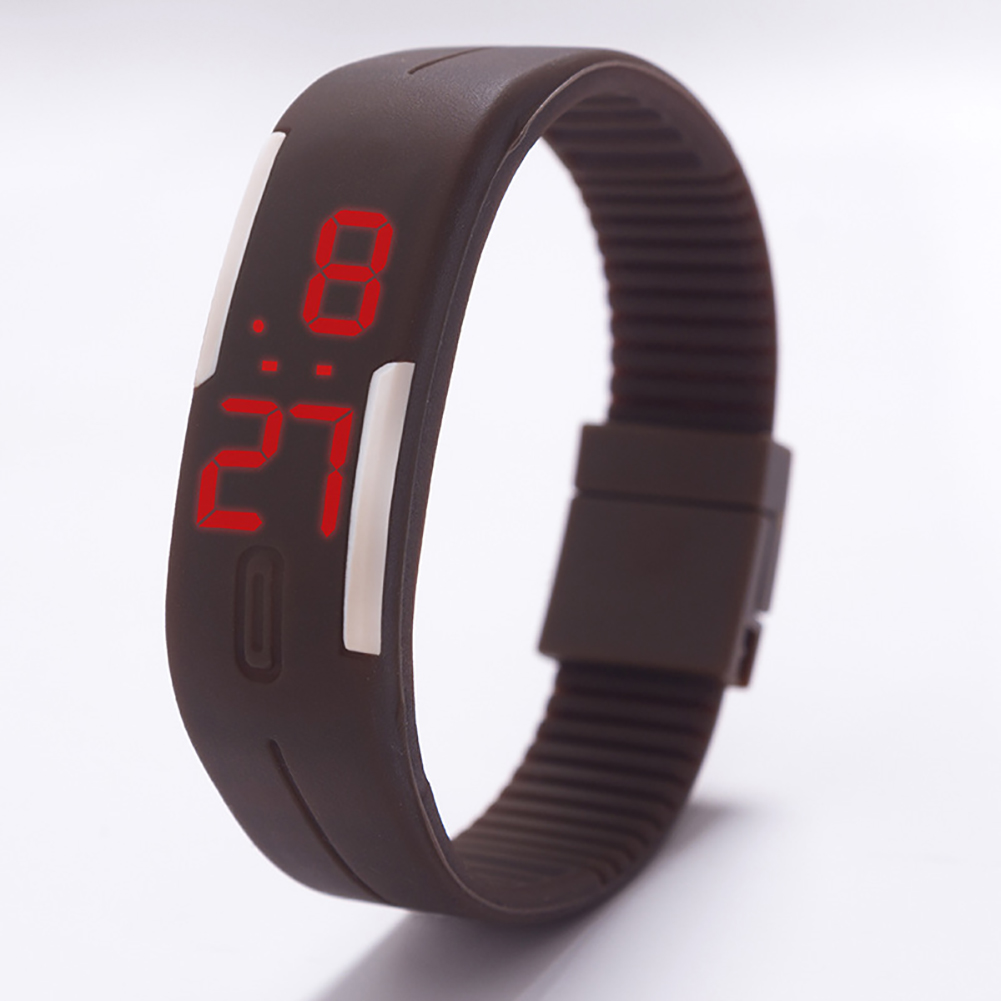 Fashion Top Brand Luxury Unisex Men's Watch Silicone Red LED Sport Watch Touch  brown