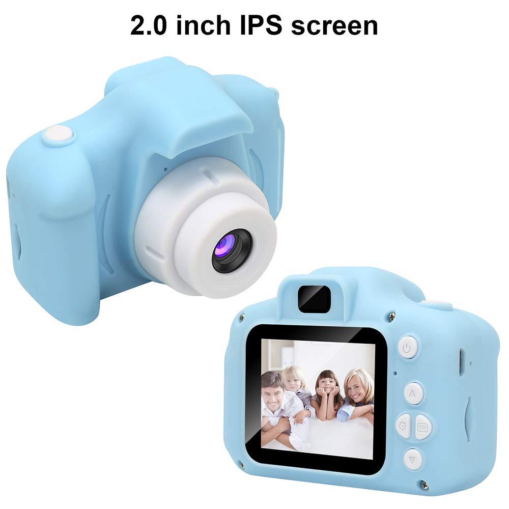 Kids Digital Video Camera Mini Rechargeable Children Camera Shockproof 8MP HD Toddler Cameras Child Camcorder  blue